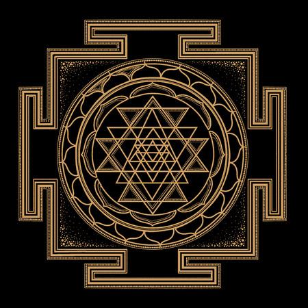 monocromático del extracto del oro símbolos abstractos de la geometría sagrada, se entrelazan forma, línea del triángulo sobre fondo negro