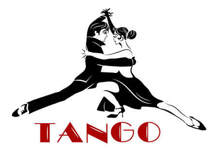 Passionate sensual couple dancing tango. Argentine Tango - isolated image Vettoriali