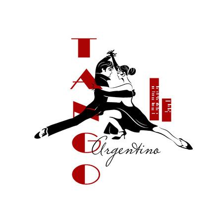 Passionate sensual couple dancing tango. Argentine Tango - isolated image Illustration