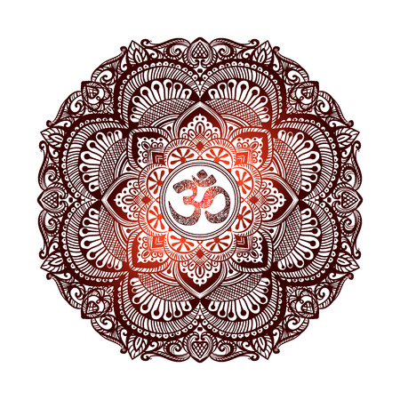Isolated image of a mandala and OM on a white background. Hand drawn Ornate Indian pattern decorative vector elements. Illustration