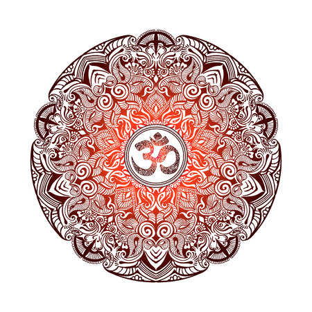 om: Isolated image of a mandala and OM on a white background. Hand drawn Ornate Indian pattern decorative vector elements. Illustration