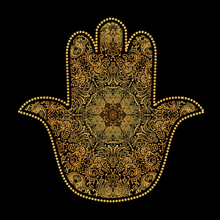 fatima: Hand drawn Ornate amulet Hamsa Hand of Fatima. Ethnic amulet common in Indian, Arabic and Jewish cultures. Illustration