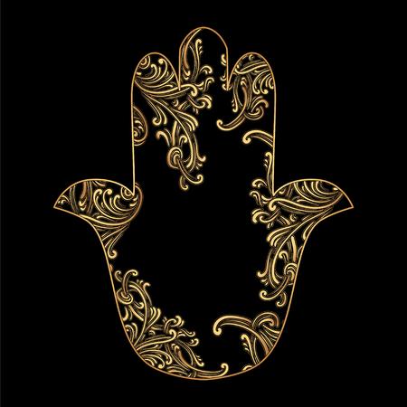 Hand getrokken overladen amulet Hamsa Hand van Fatima. Etnische amulet gebruikelijk in Indiase, Arabische en Joodse cultuur. Stock Illustratie