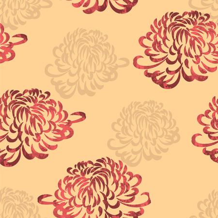 japanese chrysanthemum: seamless pattern Japanese chrysanthemum Illustration