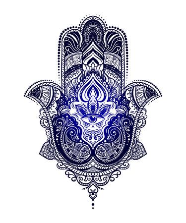 Hand Drawn Ornate Amulet Hamsa Of Fatima Ethnic Common In Indian Arabic