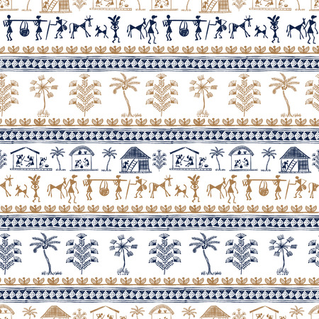 indian traditional: Warli Art painting seamless pattern - hand drawn traditional the ancient tribal art India. Pictorial language is matched by a rudimentary technique depicting rural life of the inhabitants of India Illustration