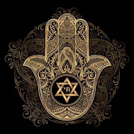 Elegant hand drawn Isolated traditional Jewish sacred amulet and religious symbols - Hamsa or hand of Miriam, palm of David, star of David, Rosh Hashanah, Hanukkah, Shana Tova Ilustração