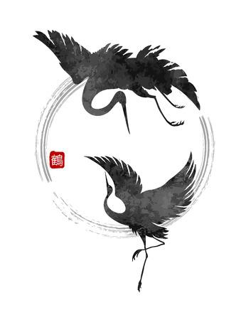 gestileerde dansen kranen in een Japanse stijl met een hiëroglief