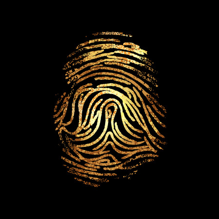 Dactylography. Abstract decorative isolated vector gold fingerprint on black background. It can be used as printing on T shirt