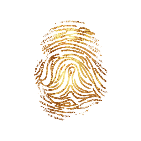 Dactylography. Abstract decorative isolated vector gold fingerprint on white background. It can be used as printing on T shirt