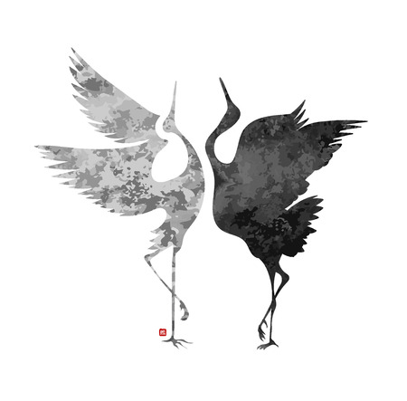 stylized dancing cranes in a Japanese style with a hieroglyph