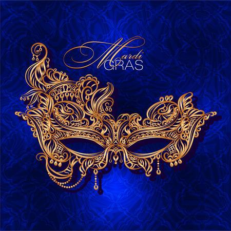 Luxury ornate golden carnival mask Mardi Gras on a blue background. Vector illustration