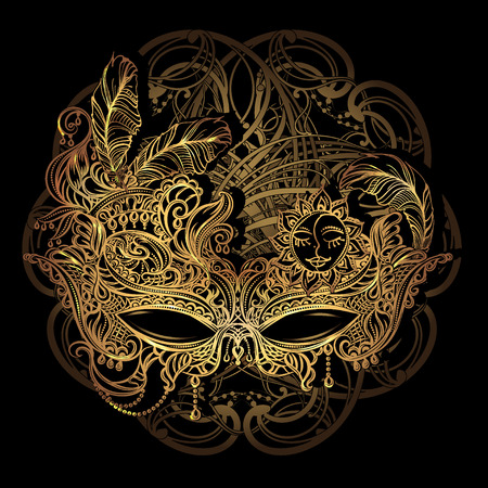 Luxury elegant golden carnival mask from Venetian laces Stock Illustratie