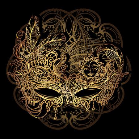 Luxury elegant golden carnival mask from Venetian laces Illustration
