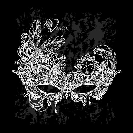 Luxury elegant carnival mask Venetian white lace on black background