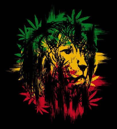 黒い背景にライオンの頭を持つラスターのテーマ。ベクトルの図。