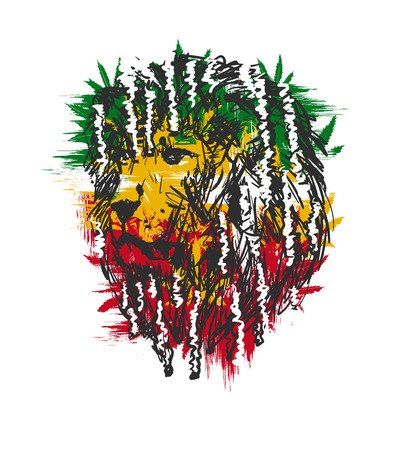 carribean: vector illustration depicting a lion with dreadlocks as a symbol of the Rastafarian subculture, and the image of Jha on background Flag colors of Jamaica.