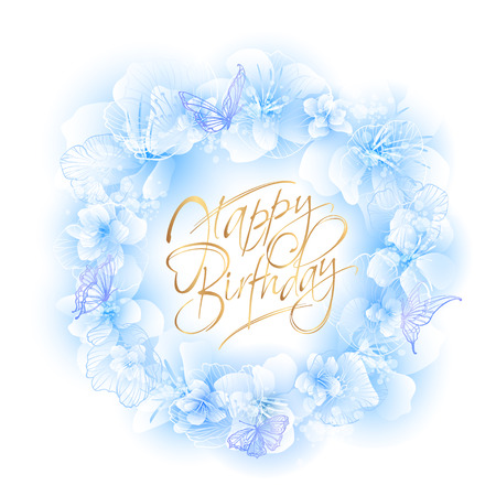 Tarjeta de cumpleaños con corona floral en suaves tonos azules y mariposas