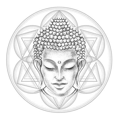 buddha head: Buddha head - elegant illustration. The symbol of  spirituality and enlightenment. Tattoo, illustration, printing on fabric Illustration