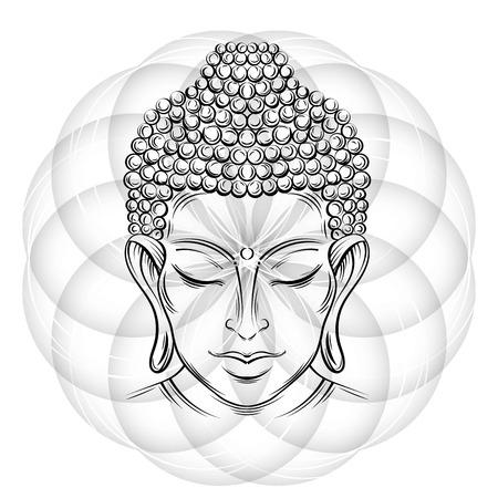 Tête de Bouddha - vecteur élégante illustration. Le symbole du bouddhisme, de la spiritualité et de l'illumination. Tatouage, illustration, impression sur tissu