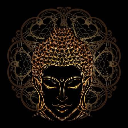 buddha head: Buddha head - elegant vector illustration. The symbol of Hinduism, Buddhism, spirituality and enlightenment. Tattoo, illustration, printing on fabric