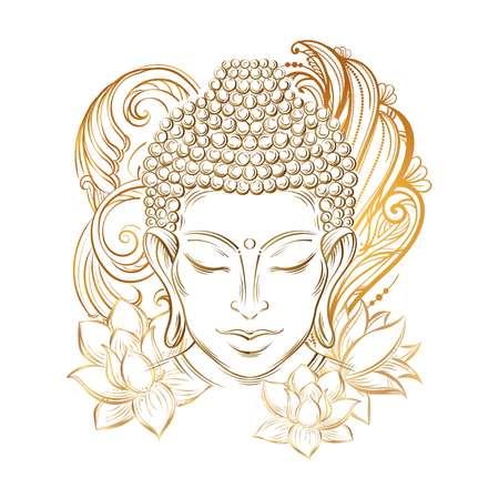 Buddha head - elegant vector illustration. The symbol of Buddhism, spirituality and enlightenment. Tattoo, illustration, printing on fabric