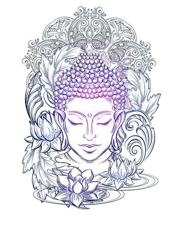 Boeddha hoofd - elegante vectorillustratie. Het symbool van boeddhisme, spiritualiteit en verlichting. Tatoeage, illustratie, afdrukken op stof Stock Illustratie