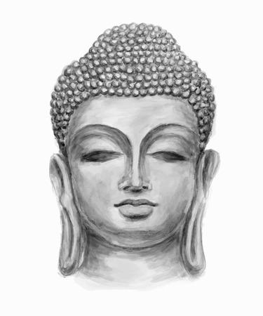 dibujado a mano en blanco y negro aislada cabeza de Buda, que está en una profunda meditación ejecutada en acuarela