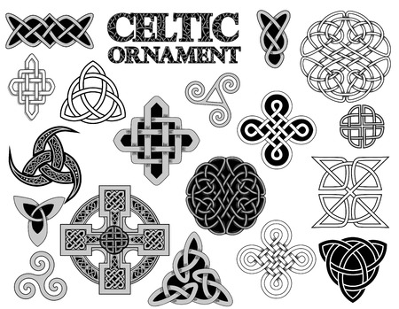 triskele: set of Ancient pagan Scandinavian sacred symbols and ornaments - Celtic cross, knot, a symbol of the Druids, Triskele, Odins Horn