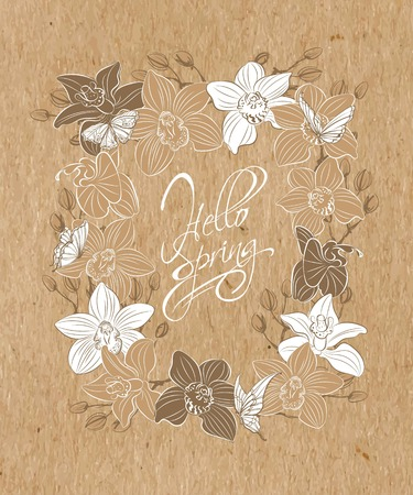 Hand-drawn spring flowers daffodils and orchids on kraft paper.