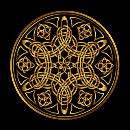 triskele: Golden Ancient pagan Scandinavian sacred symbol and ornament of the Druids