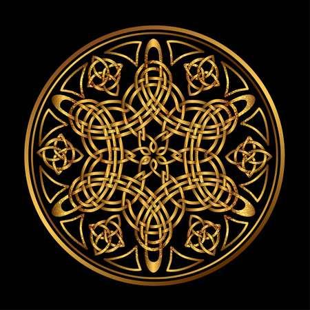 Gouden Oude Heilig Scandinavisch heilig symbool en versiering van de Druiden Stock Illustratie