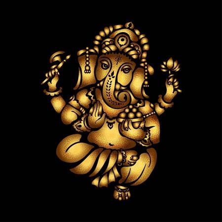 Oro Señor Ganesh sobre un fondo negro Ilustración de vector