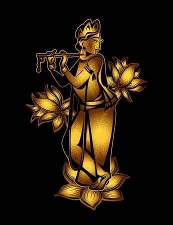 Krishna Janmashtami - Hindu festival. Golden Krishna playing a flute on a black background Illustration