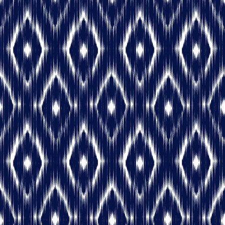 Blue Ikat Ogee Seamless Background Pattern. Abstract background for textile design, wallpaper, surface textures Illustration