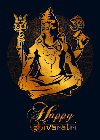 Happy Maha Shivaratri. Golden Lord Shiva in the lotus position with sacred of Hindu traditional symbols on black background
