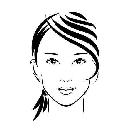 modest fashion: Drawing of asian girl face Illustration