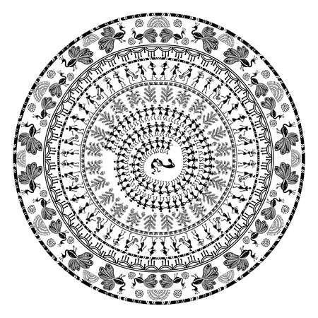 round warli tribal art Vectores