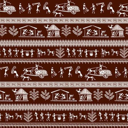 asian family: seamless warli tribal art