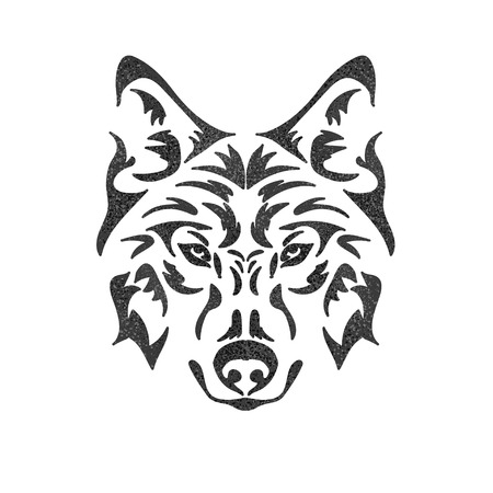 Isolated muzzle of a wolf. Can be used for t-shirt, poster, tattoo, textile, element for card design. Hand drawn vector illustration
