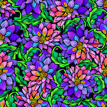contrasting: Seamless abstract tropical flower pattern in contrasting bright and dark tones Illustration