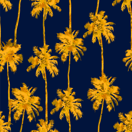 Tropical background seamless pattern of imitation of watercolor palms