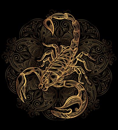 サソリのタトゥーをベクトルします。  イラスト・ベクター素材