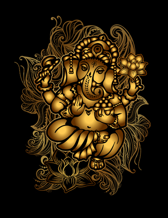 Gold Ganesha 24. Illustration