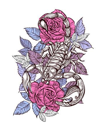 arthropod: Tattoo scorpion and rose.