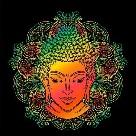 Buddhas head tattoo Иллюстрация