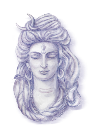 Watercolor head of Shiva