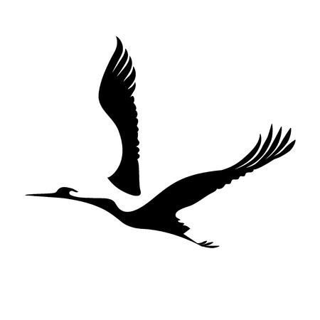 animal silhouette: Vector flying crane