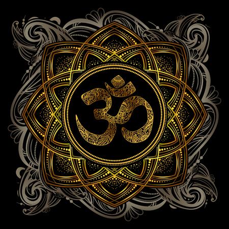 golden OM mandala Illustration