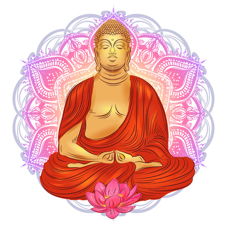 Buddha sitting in the lotus position with an illuminated face on the background of the mandala Stock Photo